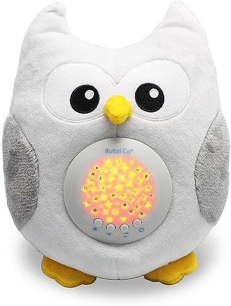 Bubzi Co Búho quitamiedos Relajante y Luz de Noche y Emisor de Sonido Relajante – Peluche bebé con Ruido Blanco y Proyector de Estrellas LED y 10 ...