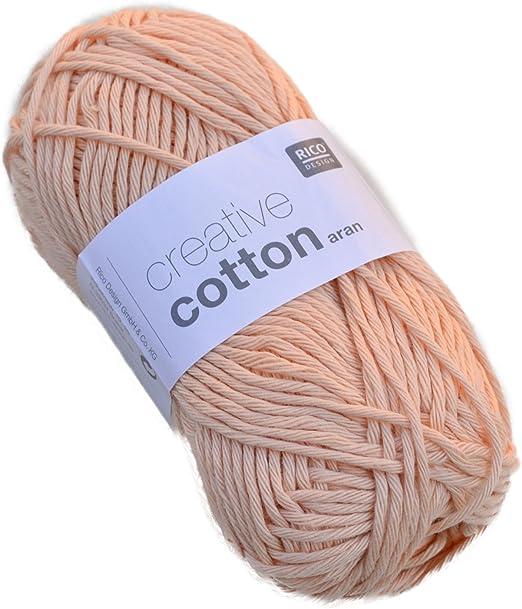 Rico Creative Cotton Aran Color de 61 Apricot hilo de algodón para tejer &: Amazon.es: Hogar