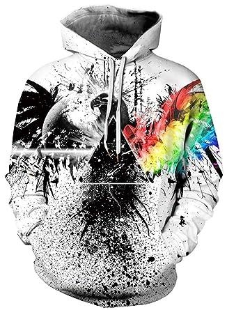 Ocean Plus Homme Sweat-Shirt à Capuche Manches Longues Hoodie 3D Graphiques  avec Un de e46a07599387
