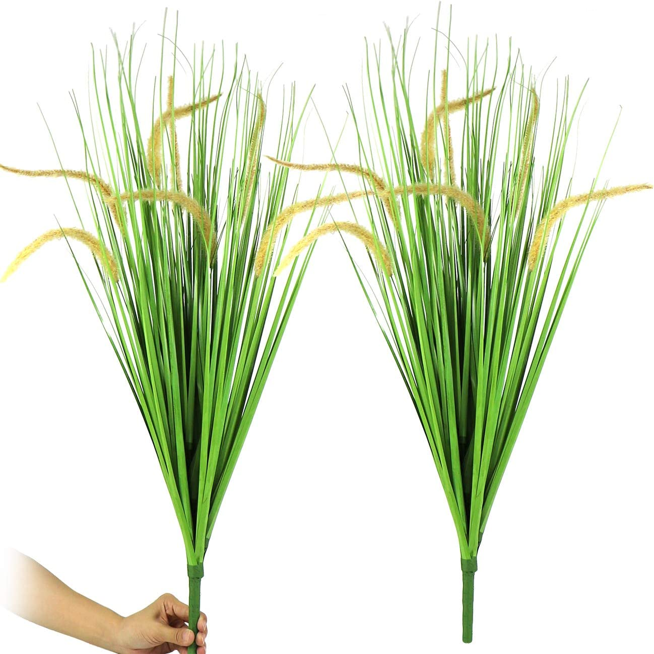 "29"" Artificial Plants Fake Flower Plastic Greenery Shrubs Wheat Grass Hanging Outdoor Planter Indoor Outside Home Garden Office Verandah Wedding Décor 2 Bunches"
