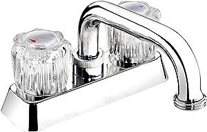 Plumb Pak EBA40WCP Laundry Tub Faucet with Dual Round Acrylic Handles, Polished Chrome