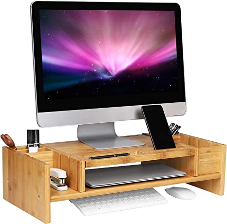 Computer Laptop Monitor Stand Riser Office Home Space Saver w// Storage Slots