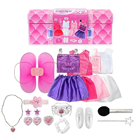 d2a951c5c9b64 Amazon.com: 20PCS Girls Role Play Dress up Trunk Pretend Play Costume Set  For Kids (Ballerina, Princess, Elf, Pop star): Toys & Games