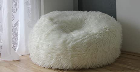 Superior 4u0027 Jumbo Sheepskin Bean Bag Chair By Navitz