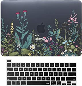 MacBook Pro 13 Inch Case 2020 Release A2251 A2289 Hard Case Shell Cover & Keyboard Cover with Touch Bar and Touch ID for Apple 13 inch MacBook Pro Case (Herbal Flower Black)