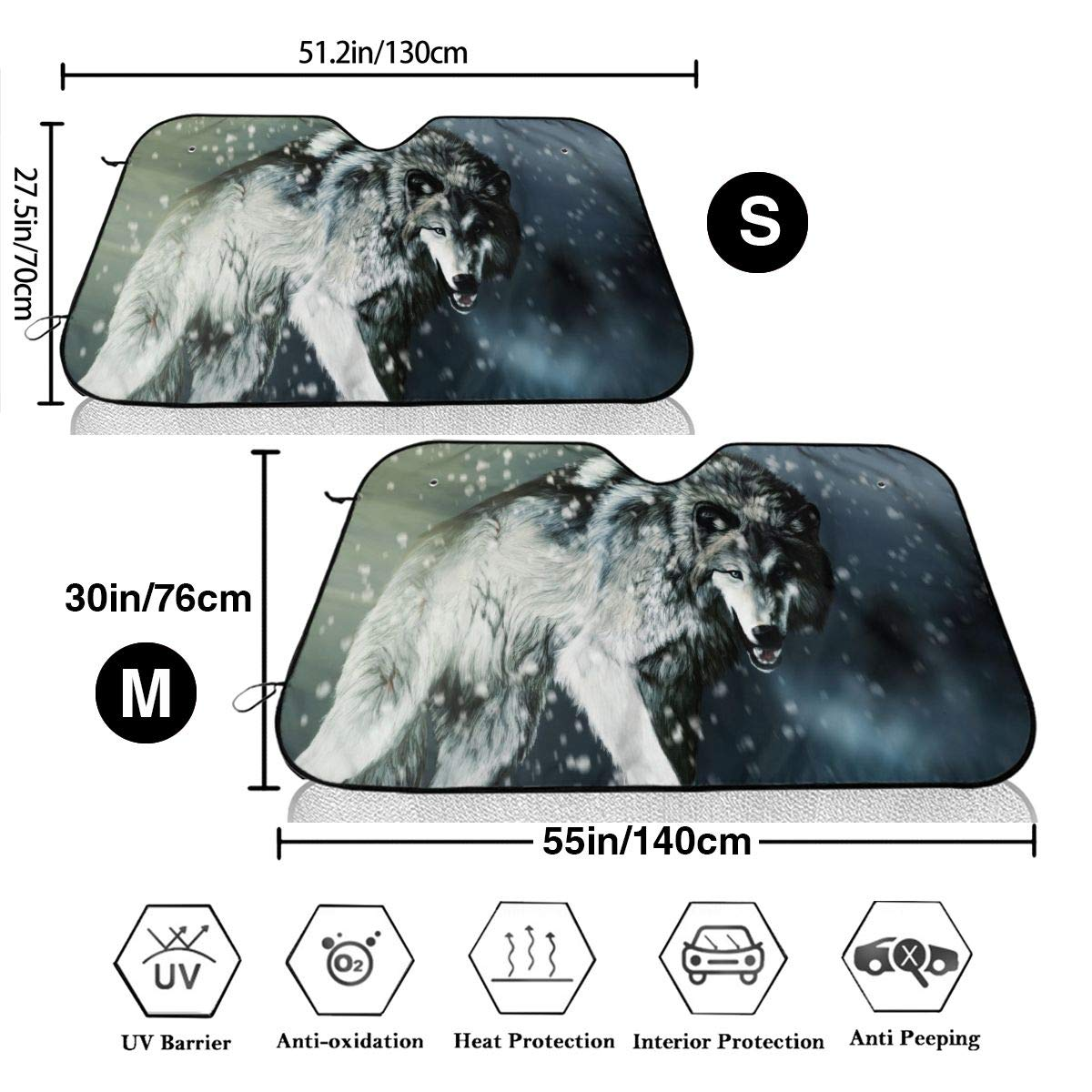 S 51.2x27.5 Inches Universal Size Cartoon Anime Wolf Car Windshield Sun Shade Blocks UV Rays Sun Visor Protector Sunshade to Keep Your Vehicle Cool and Damage Free,Easy to Use