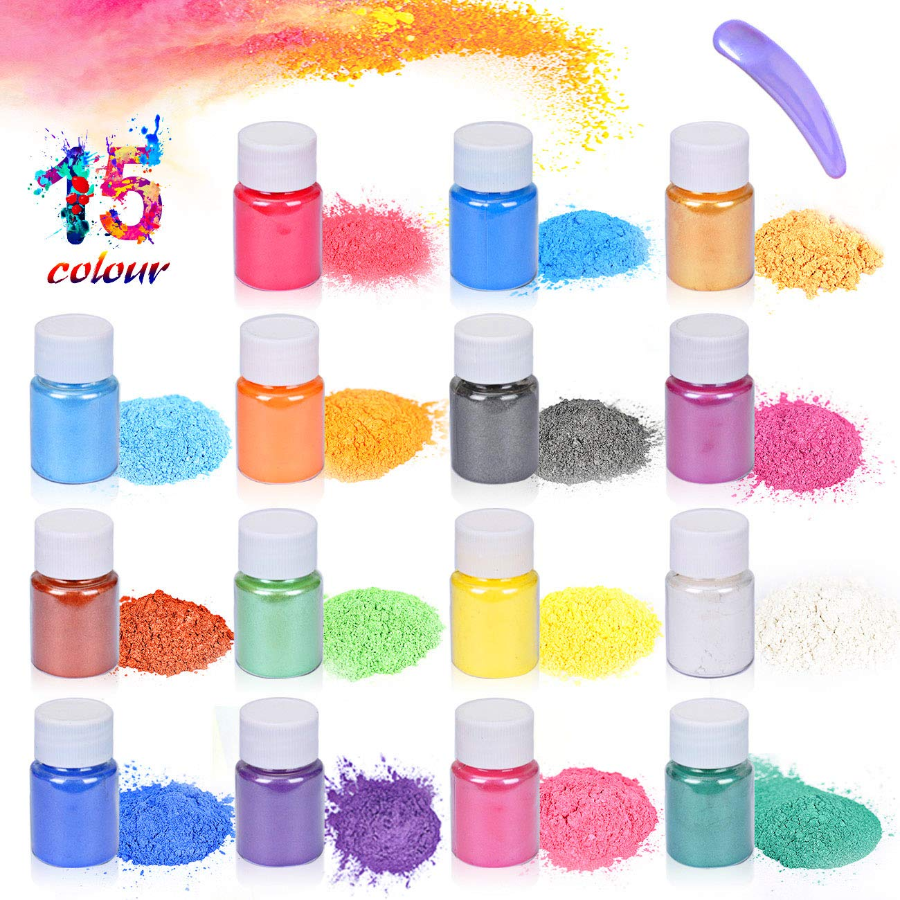 Epoxy Resin Dye-Mica Powder-15 Natural Powder Pigments-Soap Dye-Hand Soap Making Supplies-Eyeshadow and Lips Makeup Dye -Slime Pigment-Bath Bomb Colorant-Nail Art-DIY Slime-Adhesive Pigments