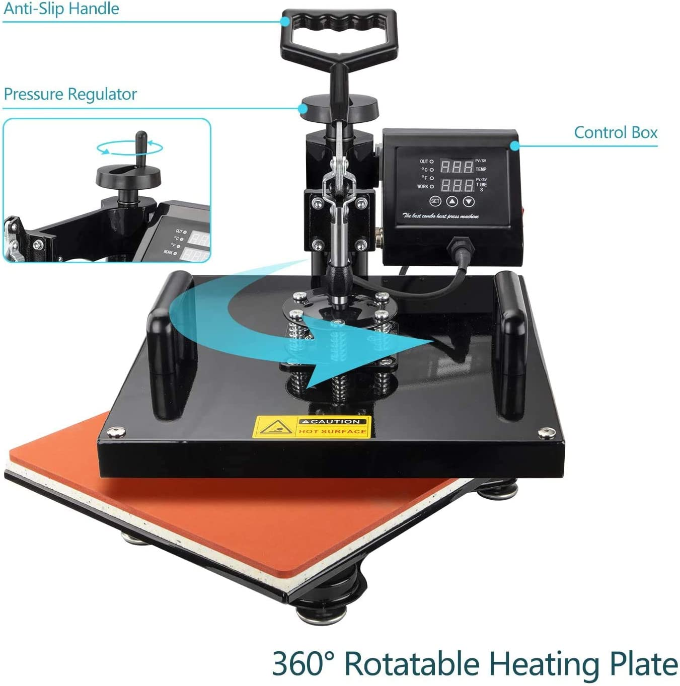 Furgle Heat Press Machine 12x15 inch 5 in 1 T-Shirt Digital Printing Transfer Sublimation Machine 1050W with Clothes Hat//Cap Plate Press Mug