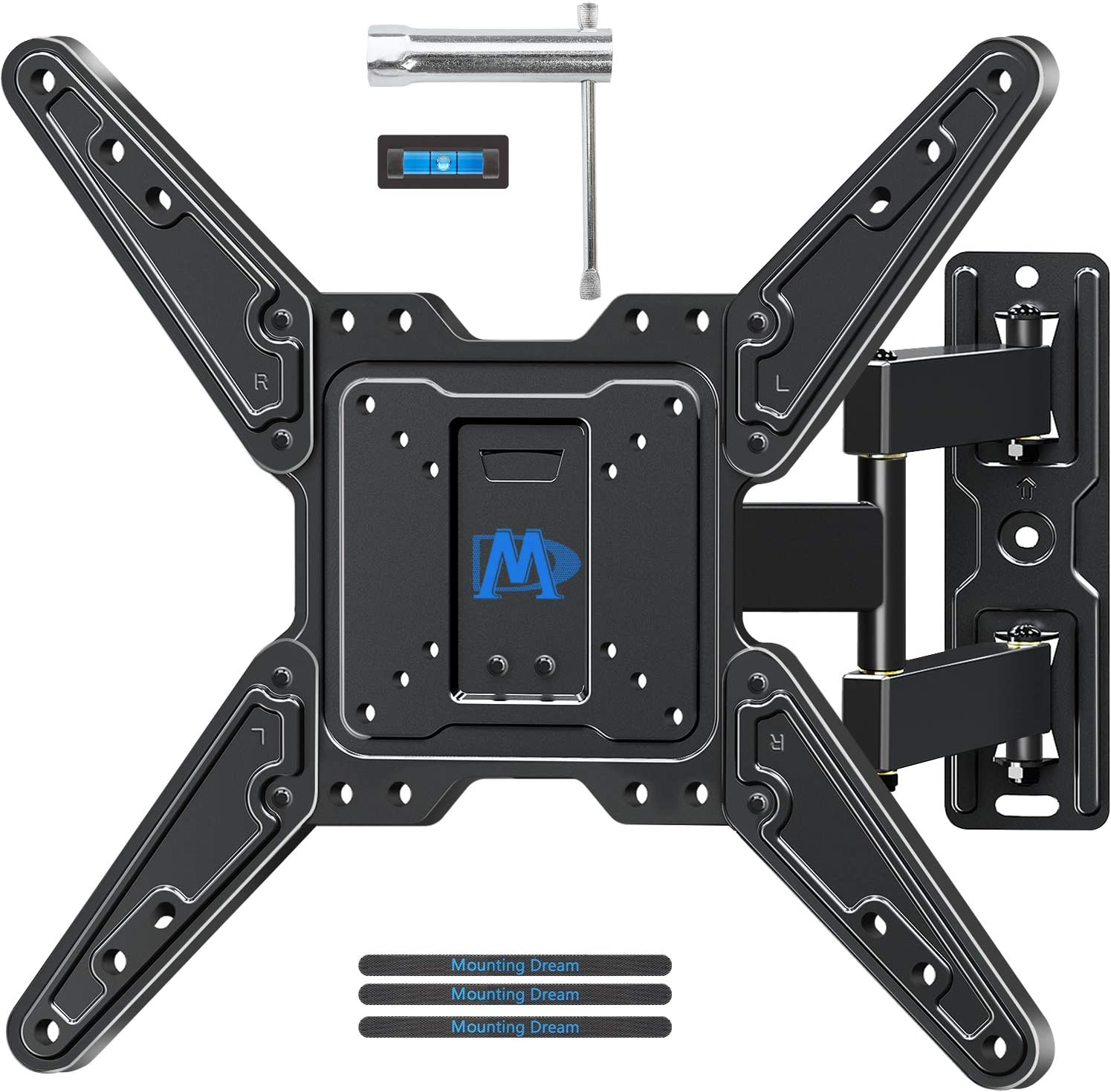 Mounting Dream TV Mount for Most 26-55 Inch TVs, Full Motion TV Wall Mount with Perfect Center Design on Single Stud Articulating Mount Max VESA 400x400mm up to 77 LBS, MD2413-MX