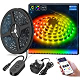 Minger LED Strip Lights 5M DreamColor Waterproof with APP Controlled, Rope Light Music Sync with Built-in Digital IC, RGB Flexible Strip Lighting for Indoor/Outdoor Living Room Bedroom Decoration