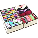 Ticent & Co Bra Underwear Drawer Organiser, Collapsible Closet Dividers and Foldable Storage Box for Socks, Neck Ties, Scarves, and Handkerchiefs, Set of 4