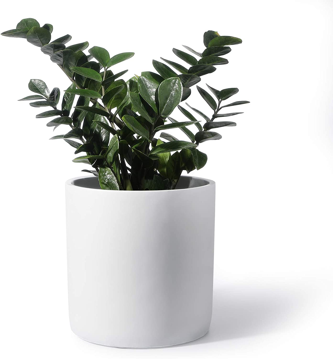 11 Inch Cement Planter Pot - Large Planter Pots for Plants Outdoor, Home Decor, Office & Indoor, Modern Cylinder Container with Watering Drainage (Plants NOT Included)