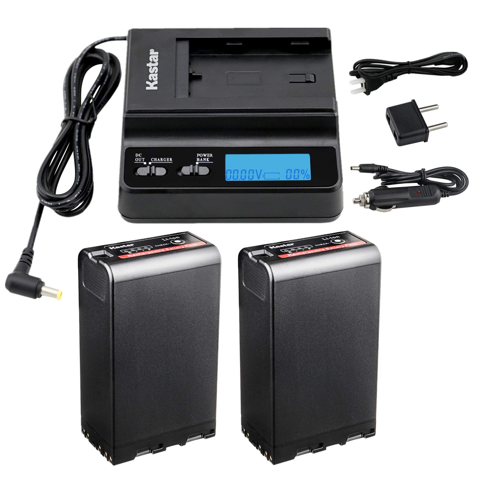 Kastar Fast Charger and Battery (2X) for Sony BP-U90 PXW-FS7/FS5/X180 PMW-100/150/150P/160 PMW-200/300 PMW-EX1/EX1R PMW-EX3/EX3R PMW-EX160 PMW-EX260 PMW-EX280 PMW-F3/F3K/F3L HD422 PHU-60K PXW-Z450 by Kastar