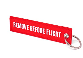REMOVE BEFORE FLIGHT ® Llavero, Rot/Weiße Schrift: Amazon.es ...