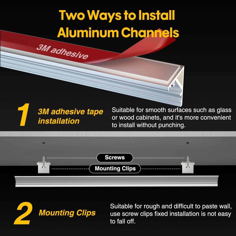 6X100cm 4X50cm Led Aluminium Leisten 10-Pack LED Aluminium Profil V-Form 45/°LED Profil f/ür LED-Streifen 1-12mm Wei/ß Milchig mit 3M Klebeband Deckel Endkappen Metall Befestigungs Clips PEBA