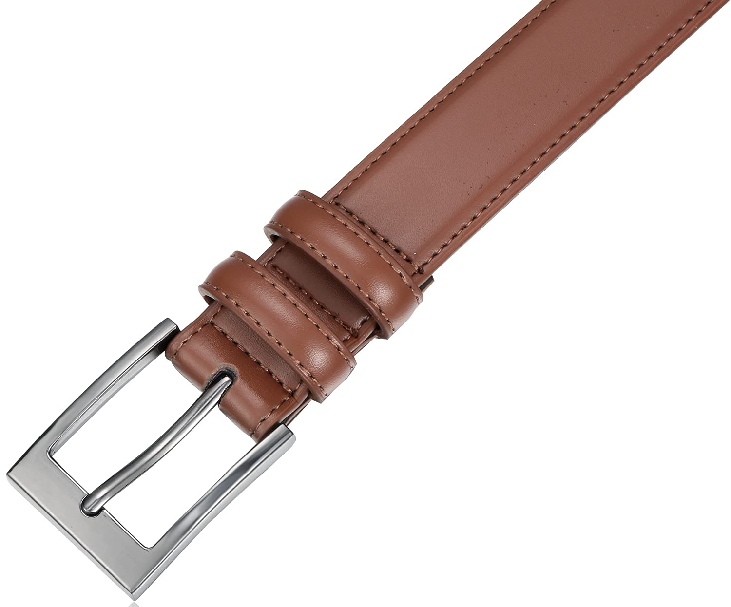 Marino/'s Men Genuine Leather Dress Belt with Single Prong Buckle.