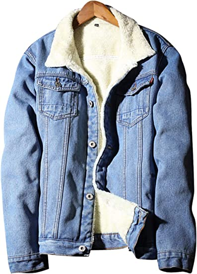 Kedera Little Big Boys Winter Hooded Fleece Thick Denim Jacket Coat Outwear
