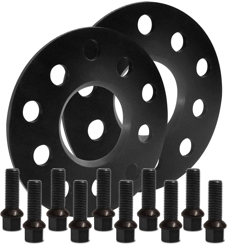 BlackLine Spurverbreiterung 10mm 5mm 10205W/_69/_M1415KU33Q mit Schrauben schwarz 5x112 57,1mm