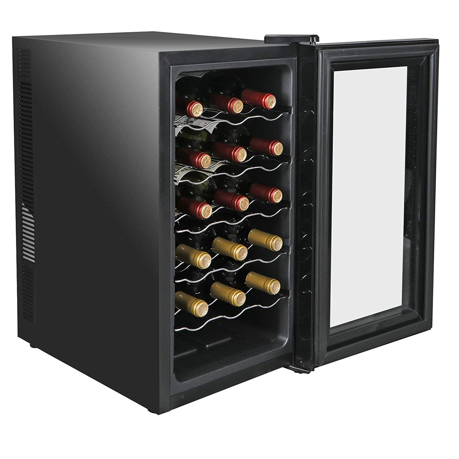 Commercial Home Wine Collection with Refrigerator Wine Cooler Capacity 18 Bottles Storage Thermoelectric Temperature Control Air Tight Seal Free Standing Living room Kitchen Party Office Restaurant