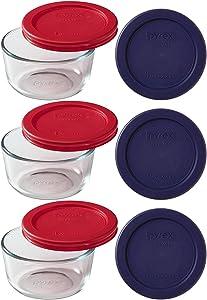 Pyrex 9-Piece Glass Food Storage Set with 2 Color Lids