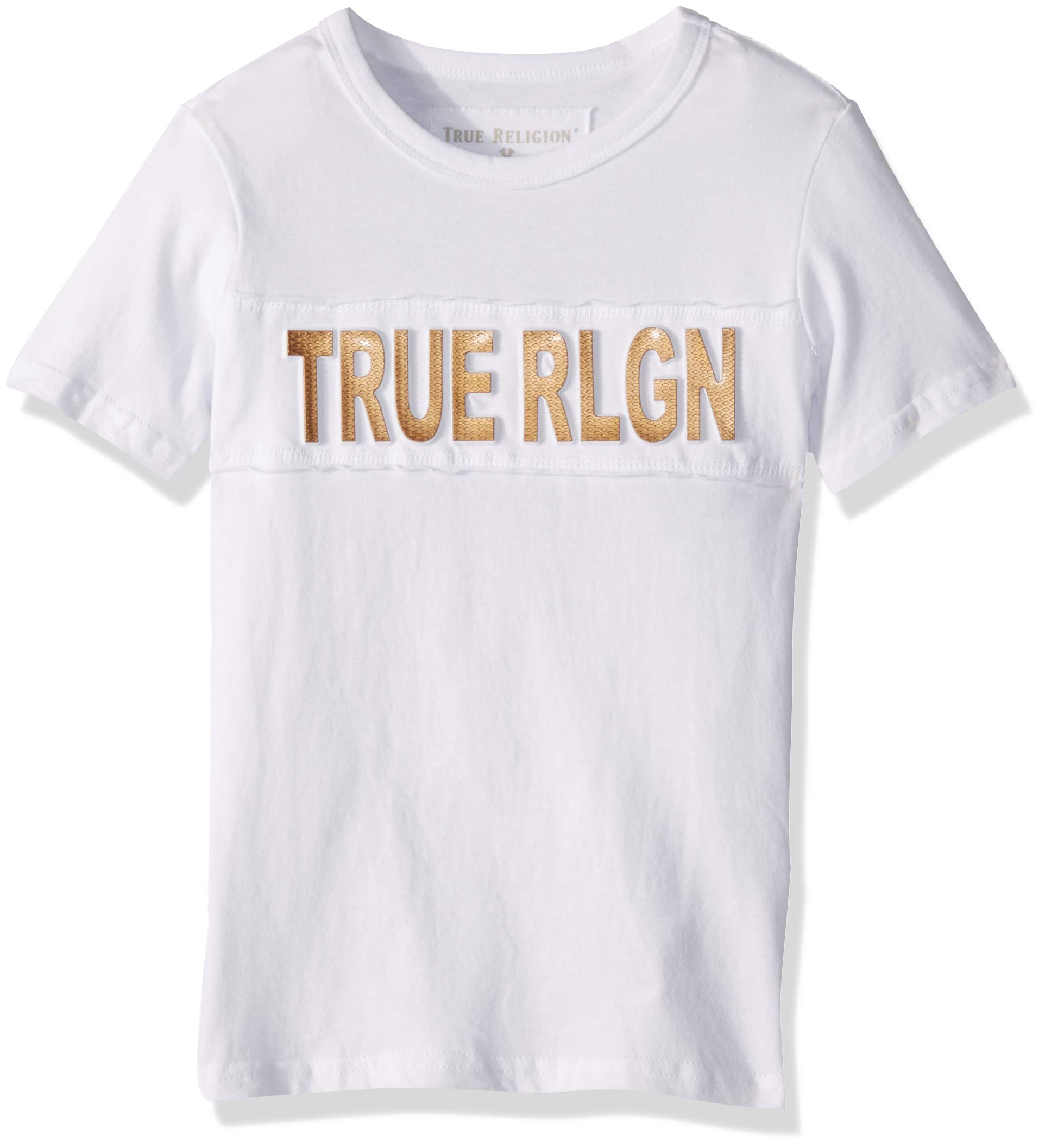 True Religion Boys' Little Logo Tee Shirt, Turquoise Print mesh White 7