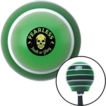American Shifter 275327 Shift Knob Fearless Death or Glory Green Stripe with M16 x 1.5 Insert