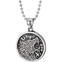 COOLSTEELANDBEYOND Vintage Círculo Medalla Cabeza de Lobo Collar con Colgante de Hombre, Acero Inoxidable, Bola Cadena…