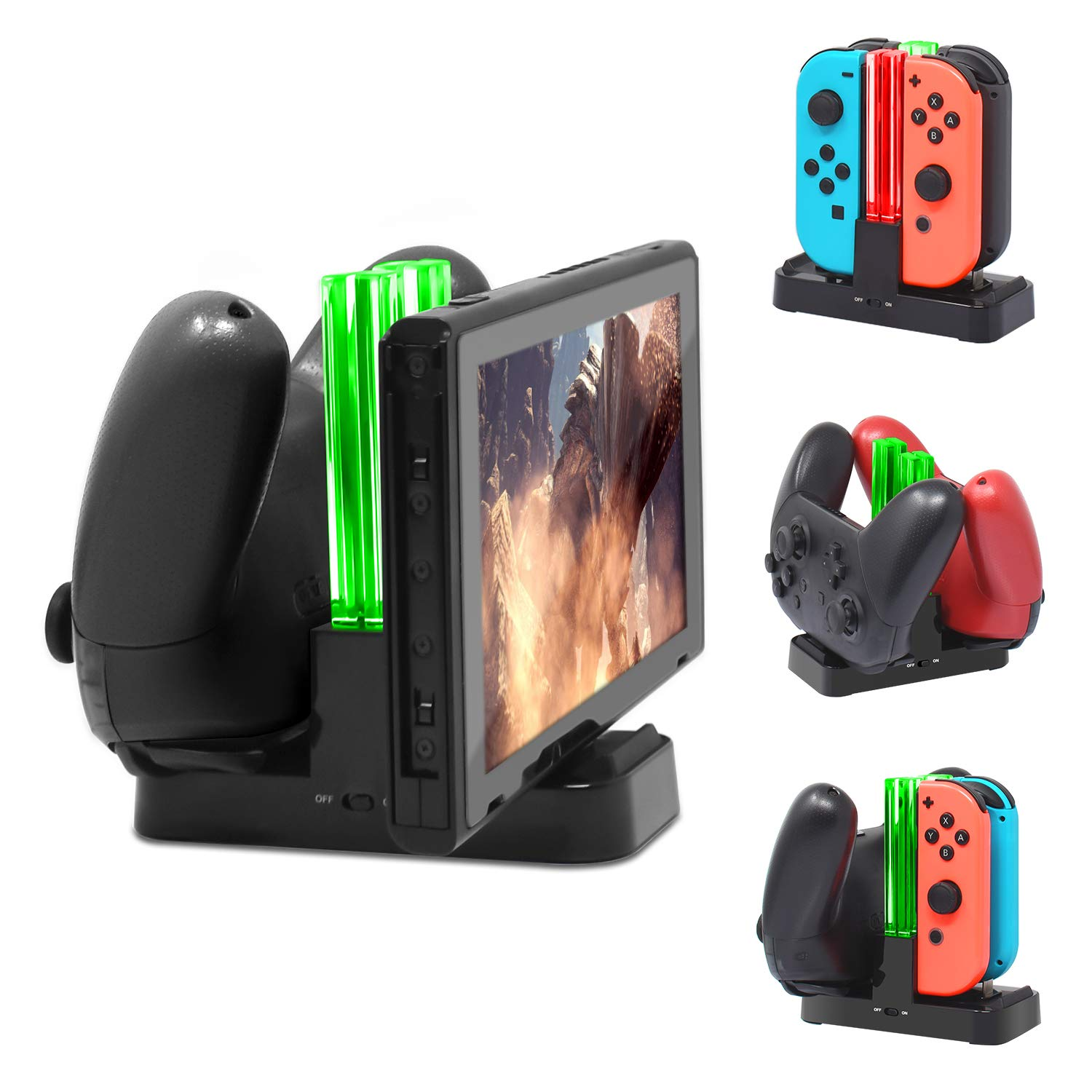 MENEEA Charging Dock for Nintendo Switch, Charger Station Stand for Joy-Cons and Pro Controller with LED Indication and Type-C USB Charger Cable by MENEEA