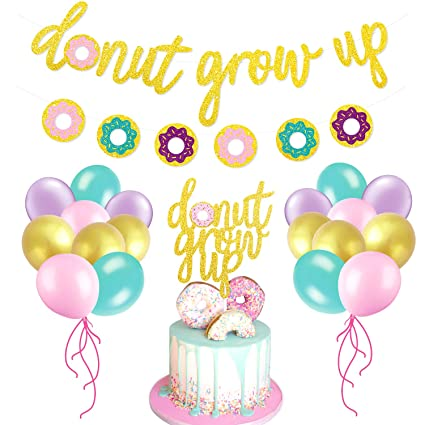 Amazon Glitter Donut Party Favors Set Grow Up BannerCake TopperBalloons Kids Event Decorations Toys Games