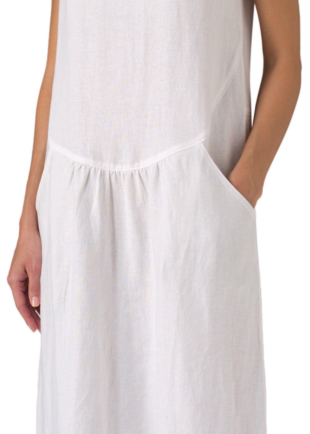 Vivid Linen Short Sleeve Dress-M-Soft White