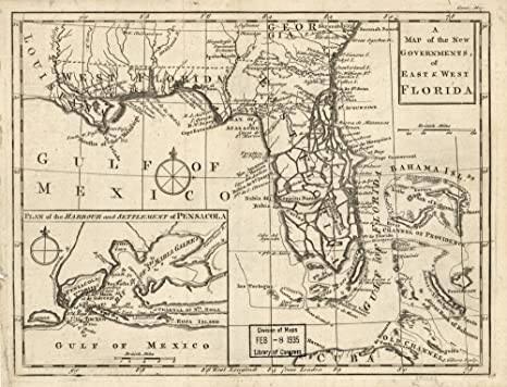 Old Town Florida Map.Amazon Com Vintage 1763 Map Of The New Governments Of East West