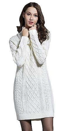 Adelina Jersey Cuello Alto Mujer Espesor Termica Vestidos Pullover Invierno Vestido Elegantes Manga Larga High Collar