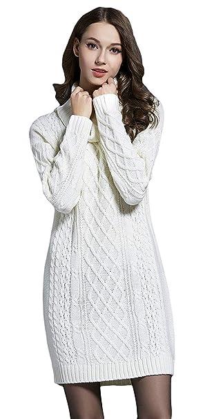 Adelina Jersey Cuello Alto Mujer Espesor Termica Vestidos Pullover Invierno Vestido Elegantes Manga Larga High Collar Vintage Sweater Ropa Casual Fashion ...