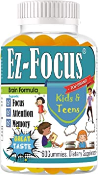 Amazon Com Ez Focus Gummies For Kids Brain Focus Chewable Focus Kids Vitamins Attention Supplement For Kids Children And Teens Great Taste Kids Gummies For Focus Calming Natural Omegas Dha School Study Task