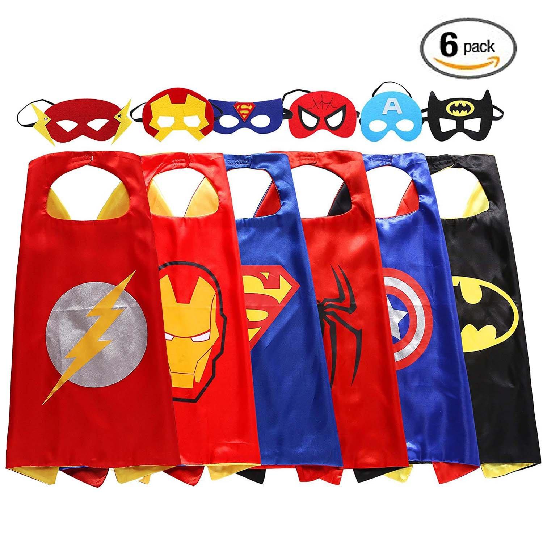 Superhero Dress Capes and Masks - Children's Superhero Toys (6 Capes and 6 Masks)