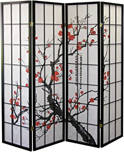 ORE International Black 4 Panel Plum Blossom Screen Room Divider