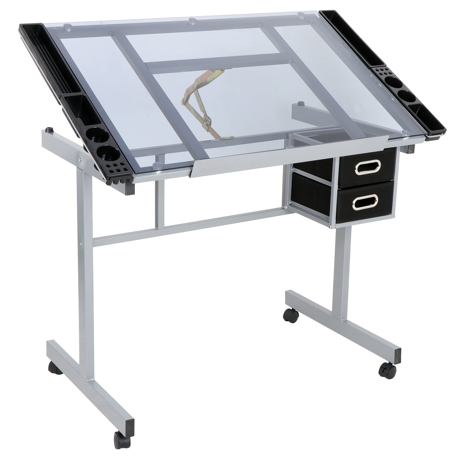 ZENY Adjustable Drafting Drawing Table Glass Top Rolling Drafting Desk Tempered Craft Station