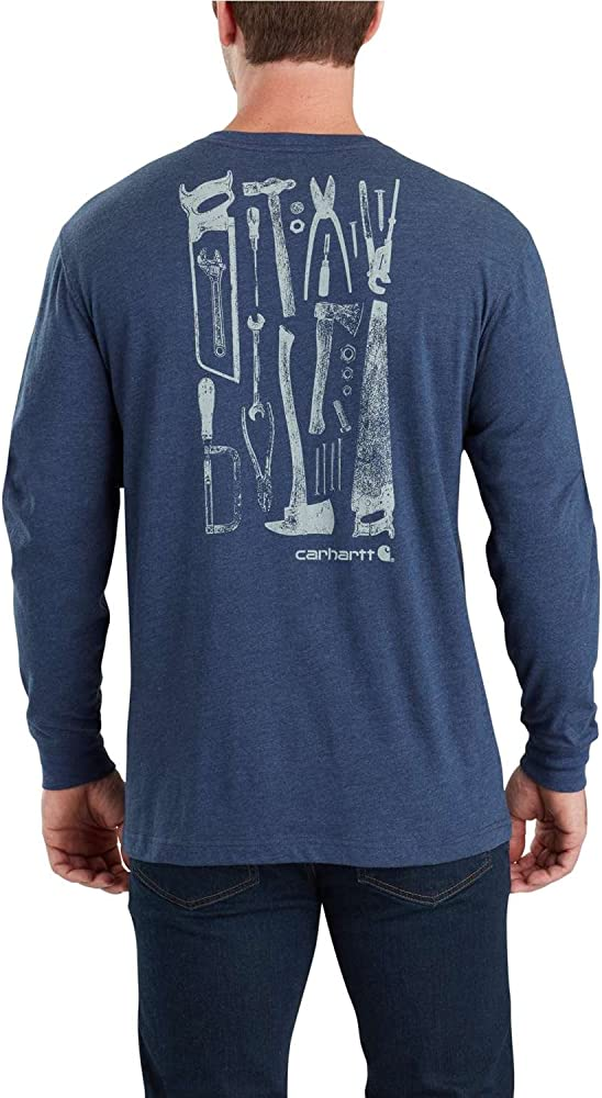 864dfc611 Carhartt Men's 103305 Maddock Tool Graphic Long Sleeve T-Shirt - Small  Regular - Indigo