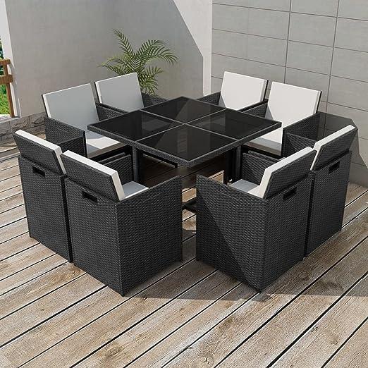 binzhoueushopping Juego de mobiliario de jardín 25 pcs Negro Dimensiones de la Mesa 109 x 109 x 74 cm (L x l x h) (Resina Trenzada Juego de mobiliario de jardín: Amazon.es: Hogar