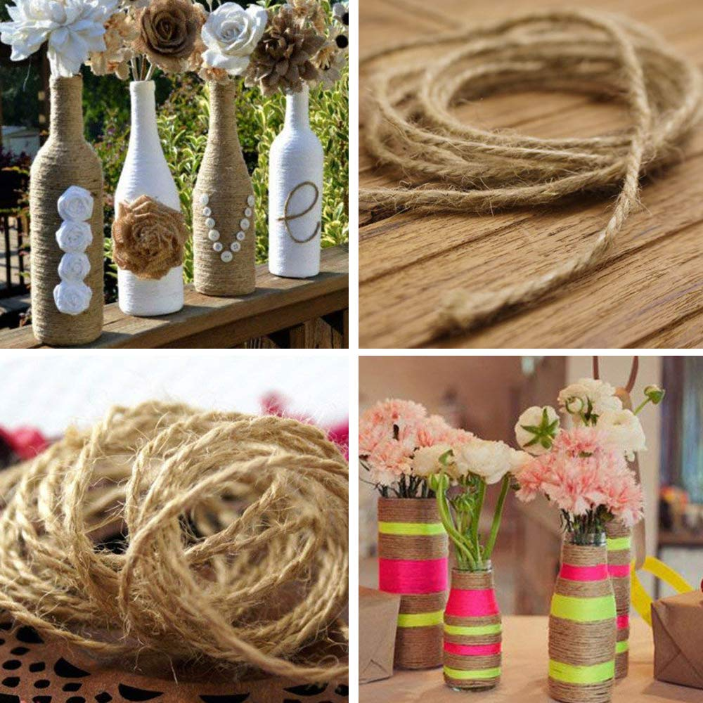 Packing Rope 4Pcs(1312 Foot)Natural Jute Rope Packing String Best Crafts Gift Twine Christmas Wreath Holiday Decoration and Gardening Application Profession Craft Hemp Rope Art Shows0001