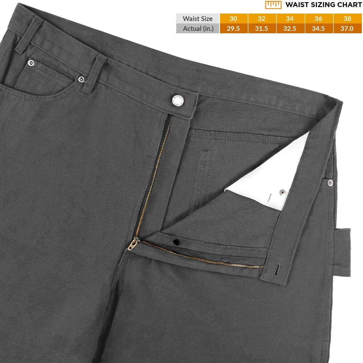 DuraDrive 36W x 30L Brown Duck Mens Loose Fit Garment Washed Duck Canvas Work Dungaree Carpenter Pants
