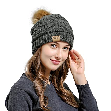 a8f75533c7c Challyhope Women Slouchy Beanies Hats Real Fur Pom Pom Cable Chunky Hat  Bobble Hat Winter Knit