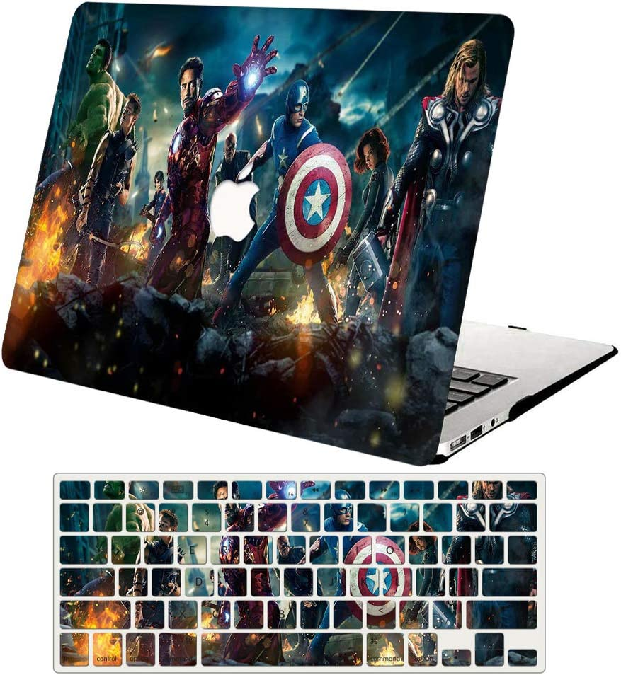 MacBook Air 13 Inch Case 2019 2018 Release A1932, AJYX Plastic Hard Shell Snap On Case with Keyboard Cover Compatible with Mac Air 13 inch with Retina Display & Touch ID, DH334 Avengers