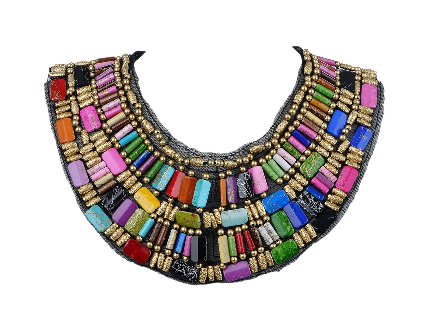 Alilang Black Tribal Large U Shaped Draped Multicolour Rainbow Beads Statement Necklace by Alilang