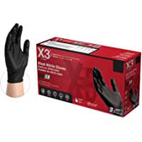 X3 Industrial Black Nitrile Gloves - 3 mil, Latex Free, Powder Free, Textured, Disposable, Medium, BX344100-BX, Box of…