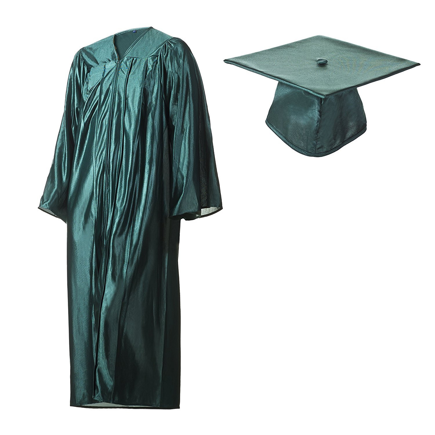 Amazon.com: Graduation Cap and Gown Set Shiny Forest Green in ...