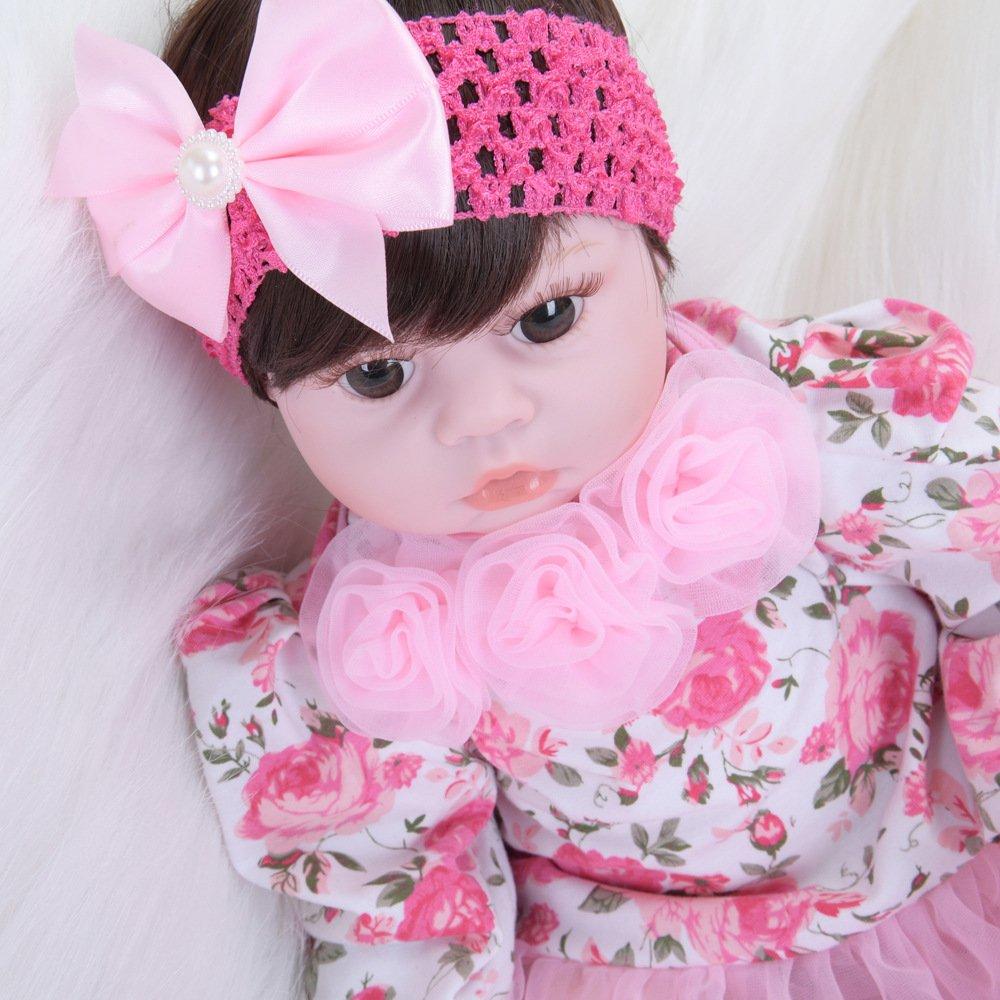 LIJUN Wiedergeburt Puppe Puppe Puppe Simulation Baby Puppe Spielzeug Puppe 50 cm Braun Augen Kinder Spielzeug,50cm 8c3c16