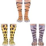 Cosweet 3 pairs Animal Paw Socks 3D Print Funny Animal Feet Socks Tiger Cat Leopard Paw Socks for Men Women Kids