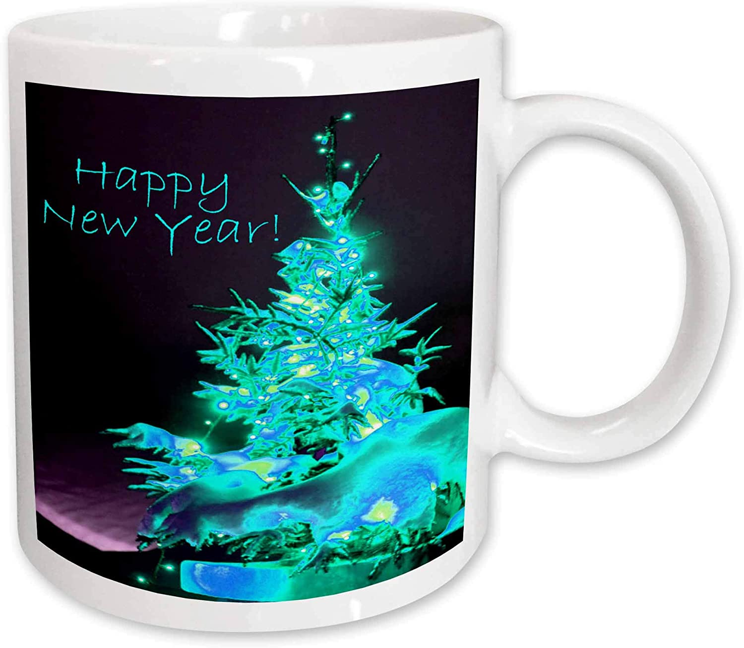 3dRose Pretty Christmas Tree Happy New Year in Ice Blue with Light Blue Text Ceramic Mug, 11-Ounce