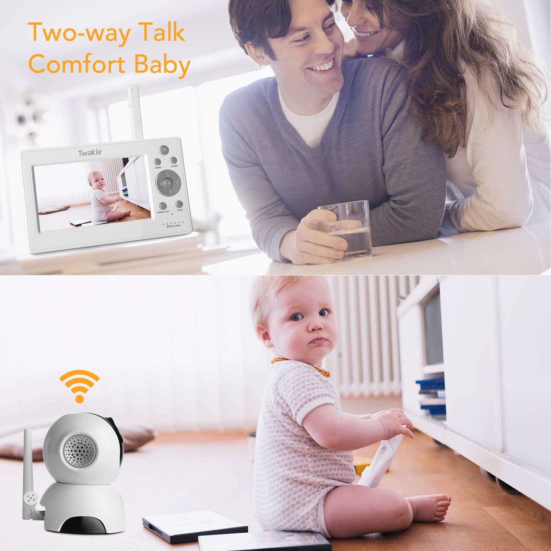 Schlaflied mit einstellbarer Lautst/ärke Babyphone mit Kamera 5 Zoll Video Babyphone mit Schwenk- und Zoomfunktion Nachtsich,2-Wege-Audio und Temperatursensor und Lange Akkulaufzeit
